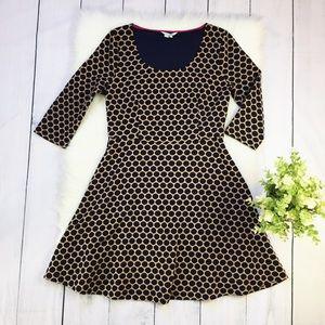 Boden Black Tan Polka Dot Fit Flare Dress, SZ 10